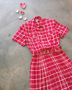 Red Plaid Belted Dress - VC 07
