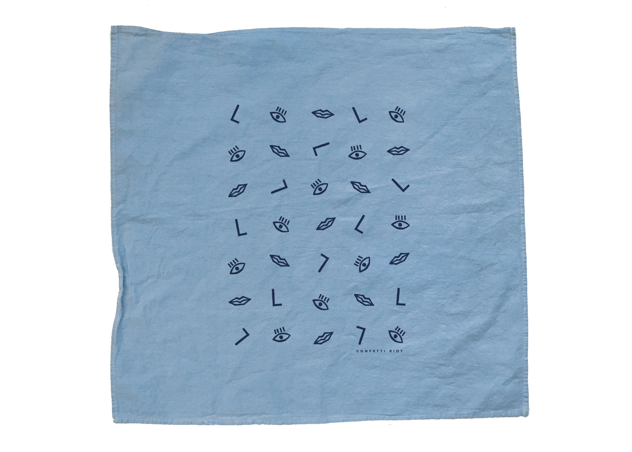 Blue Confetti Face - Tea Towel
