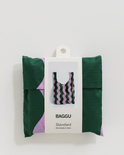 Pink and Green Wavy Stripes- Standard Baggu