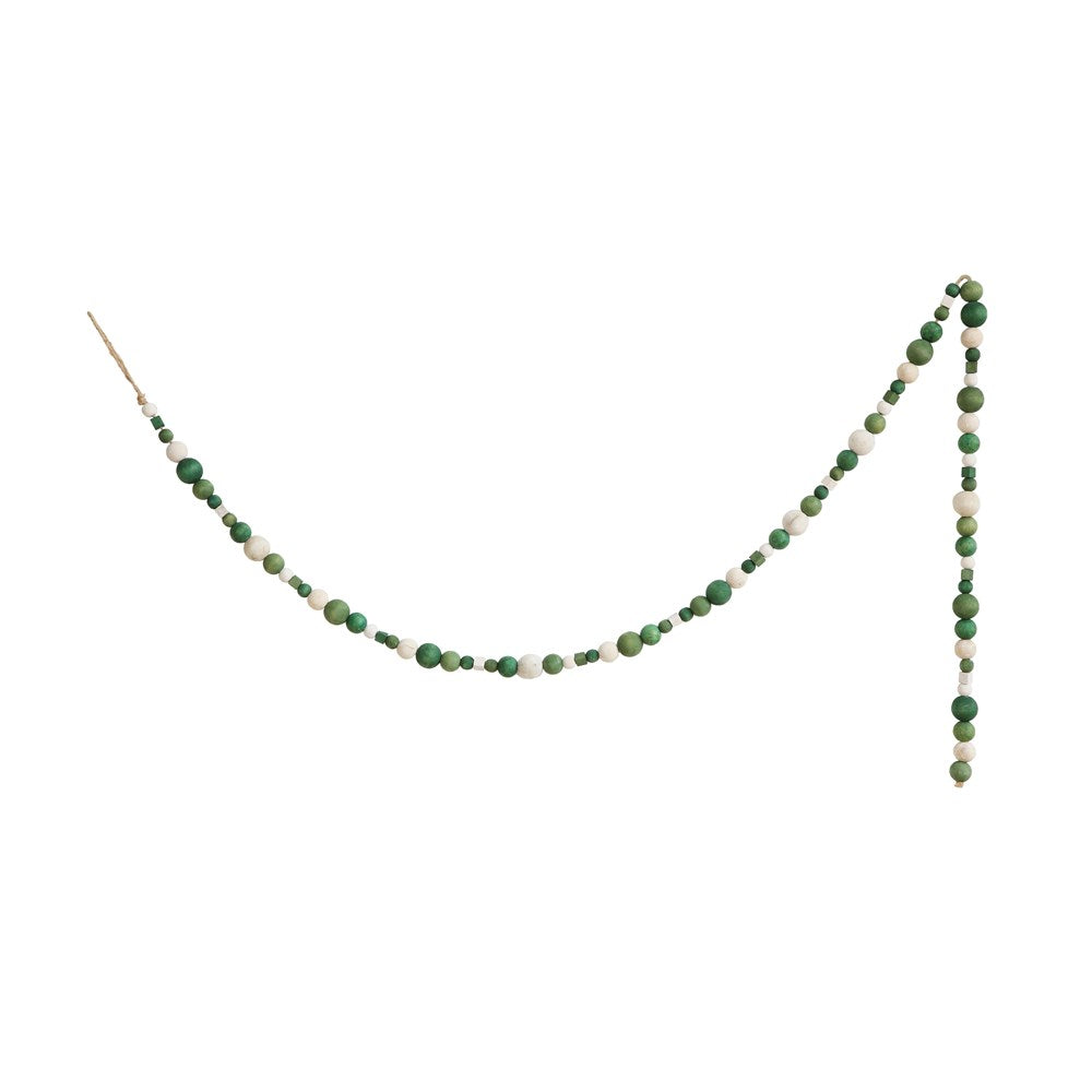 Green Wooden Bead Garland