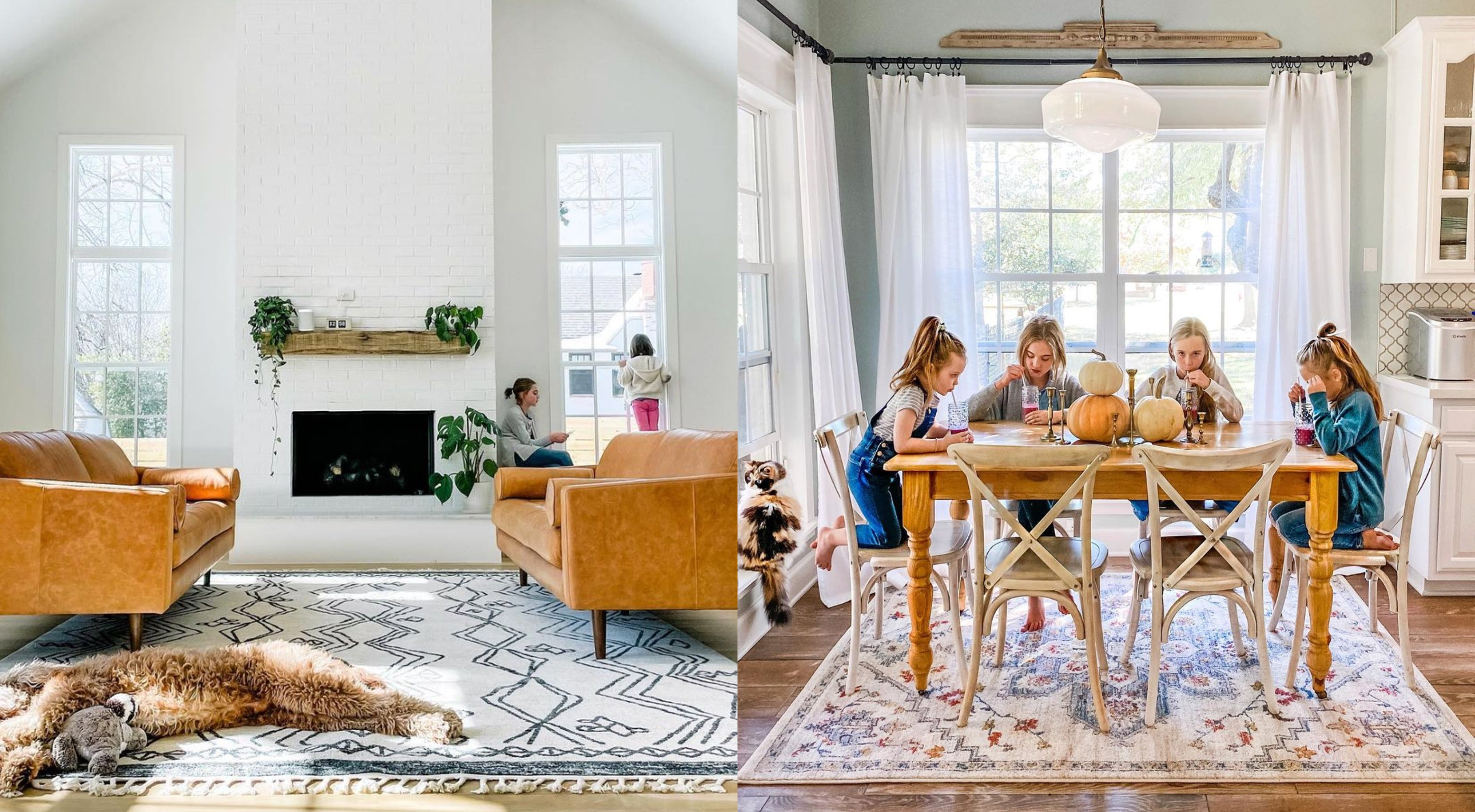 A living room statement with the Darcy rug.   A breakfast with Bingley.