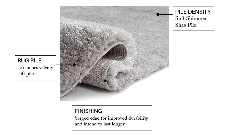 Olympic Silver Modern Shag Rug Well Woven