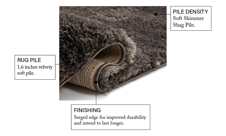 Olympic Peppercorn Grey Modern Shag Rug Well Woven