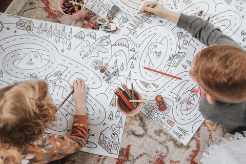 Coloring with the Sunnie Press map on the Stella Natural Rug.