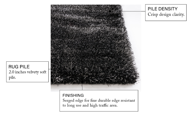 Liza Black Feather Plush Shag Rug