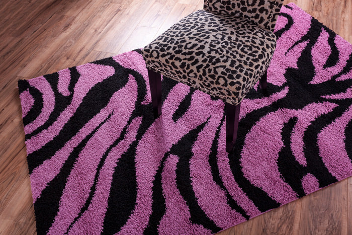 MADISON SHAG SAFARI ZEBRA FUCHSIA 7037