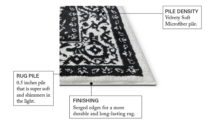 Dazzling Black Traditional Rug