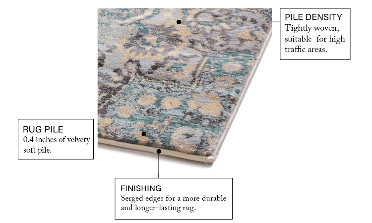 Ciato Blue Modern Rug features illustration 2: serged edges for a durable, long-lasting rug