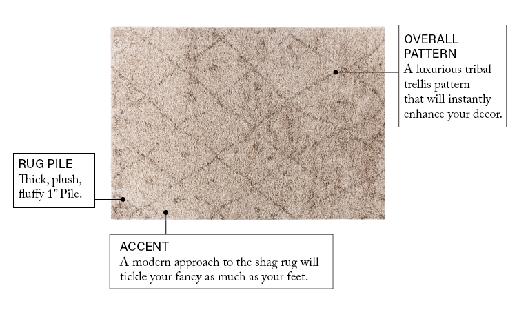 Madison Shag Moroccan Lattice Vanilla 7062 Soft Area Rug