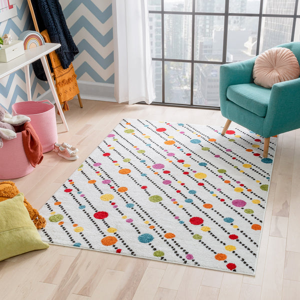 Starbright Dandy Dots And Stripes White Rug