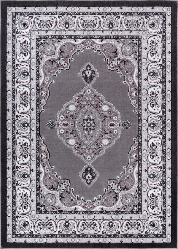 "Isfahan Medallion Grey Traditional 7'10"" x 9'10"" Rug"