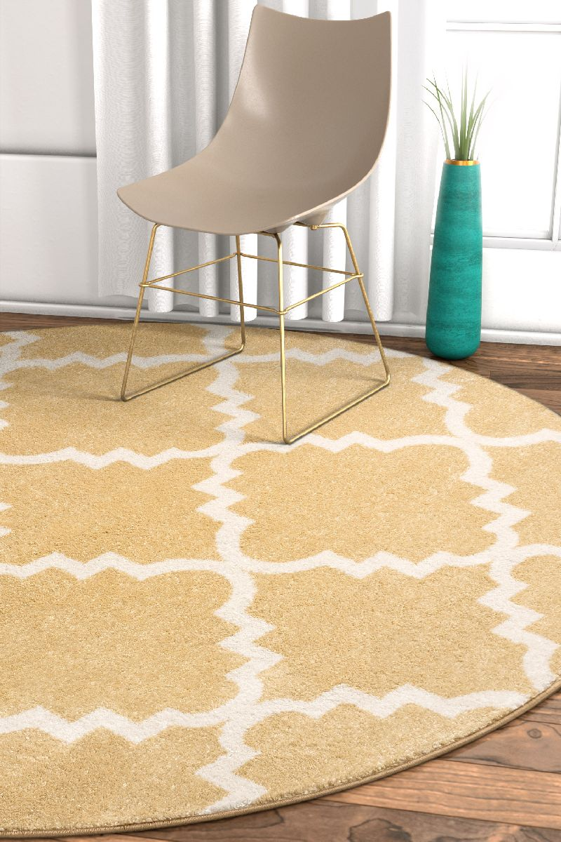 Lulu's Lattice Gold Modern Round Rug
