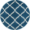 "Lulu's Lattice Navy Blue Modern 5'3"" Round Rug"