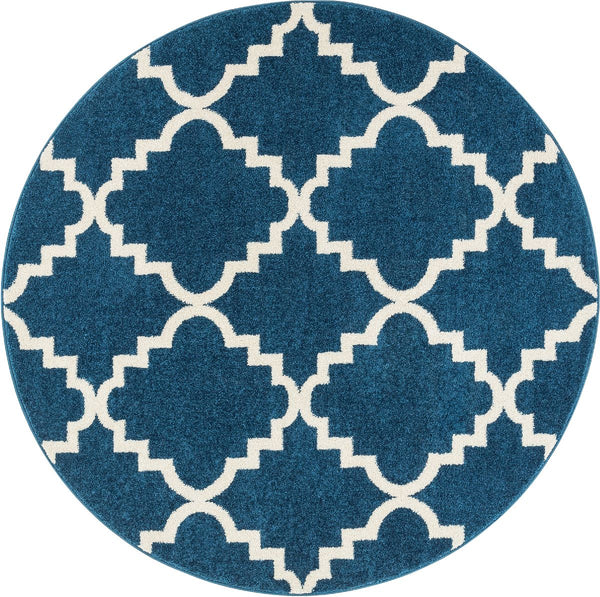 Lulu's Lattice Navy Blue Modern Round Rug