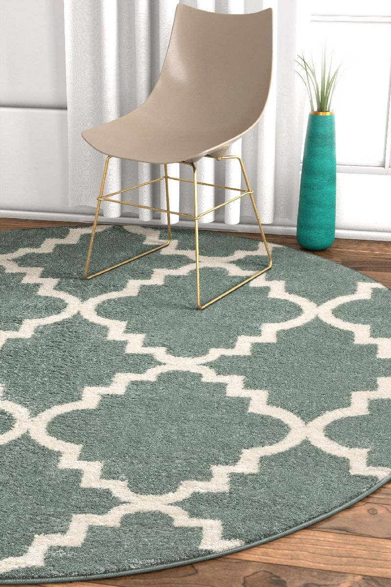 Lulu's Lattice Light Blue Modern Round Rug