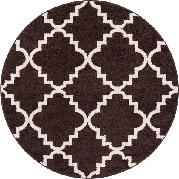 "Lulu's Lattice Brown Modern 5'3"" Round Rug"