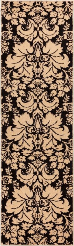 Damask Toile Black/Ivory Transitional Rug
