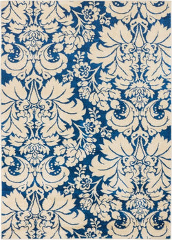 Damask Toile Navy Blue Transitional Rug