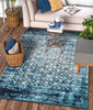 Manchester Royal Blue Modern Distressed Rug