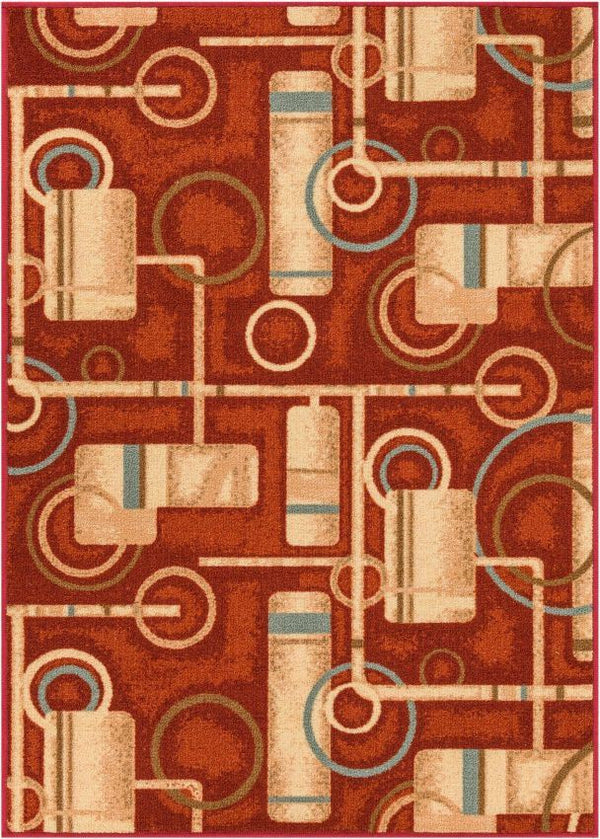 Prescott Red Modern Non Slip Washable Rug