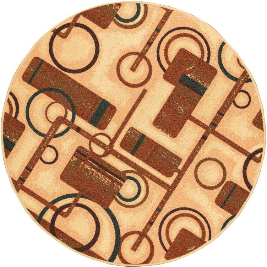 Prescott Natural Geometric Non Slip Washable Round Rug