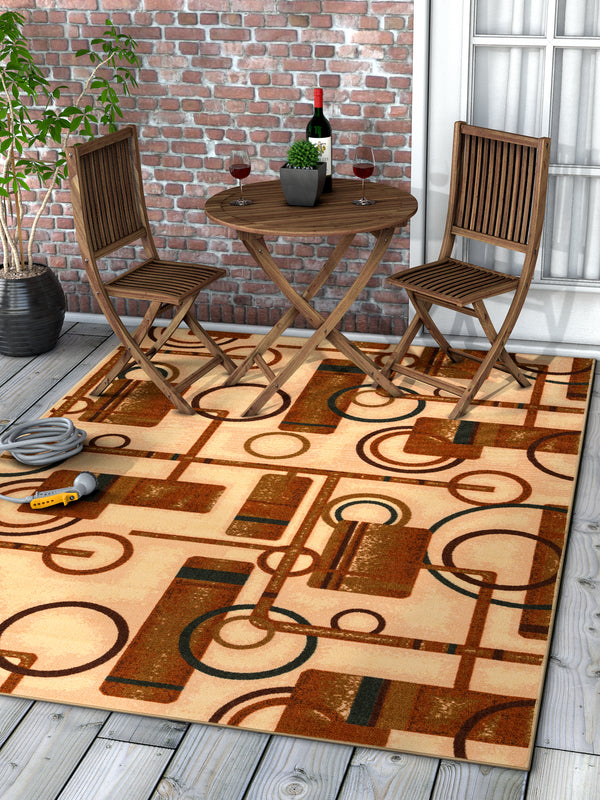 Prescott Natural Geometric Non Slip Washable Rug