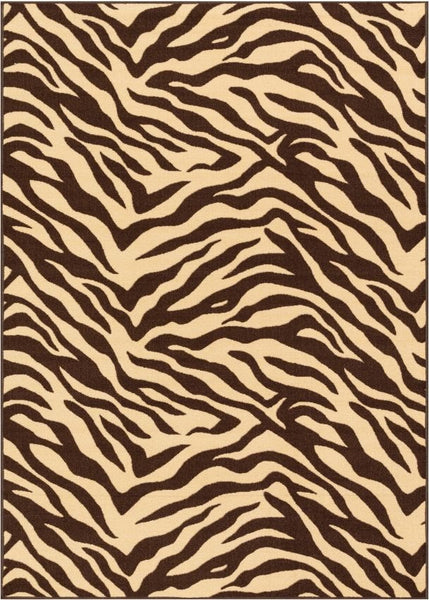 Zebra Brown Animal Print Non Slip Washable Rug Well Woven