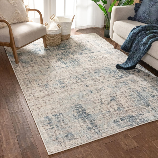Tate Abstract Vintage Distressed Blue Rug