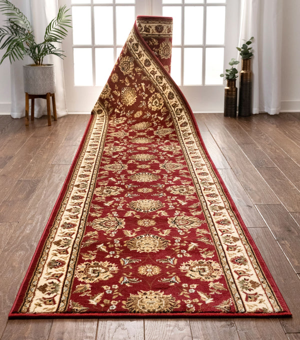 Abbasi Custom Size Runner Traditional Red Choose Your Width x Choose Your Length Hallway Runner Rug