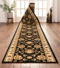 Abbasi Custom Size Runner Traditional Black Choose Your Width x Choose Your Length Hallway Runner Rug