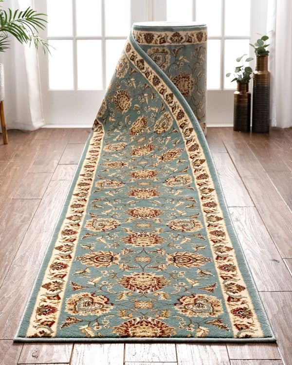 Abbasi Custom Size Runner Traditional Light Blue Choose Your Width x Choose Your Length Hallway Runner Rug