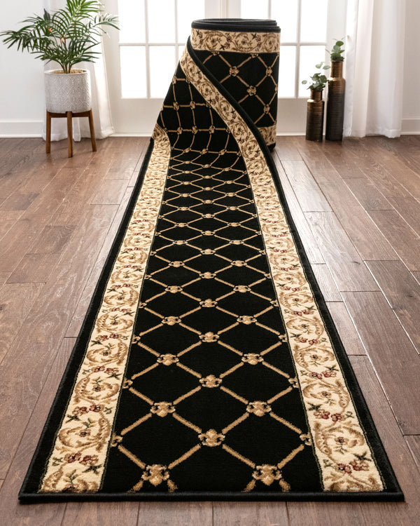 Fleur De Lis Custom Size Runner Formal Black Choose Your Width x Choose Your Length Hallway Runner Rug