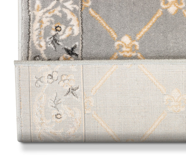 Fleur De Lis Custom Size Runner Traditional Grey Choose Your Width x Choose Your Length Hallway Runner Rug