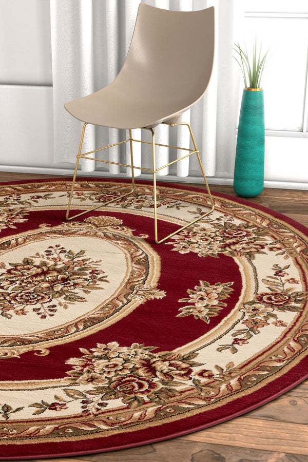Le Petit Palais Red Traditional Round Rug