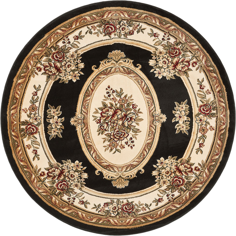 Le Petit Palais Black Traditional Round Rug
