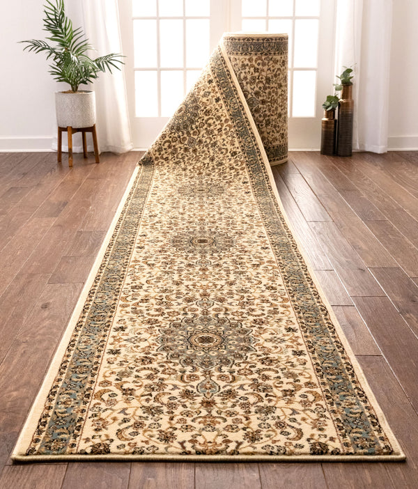 Aviva Custom Size Runner Traditional Ivory Choose Your Width x Choose Your Length Hallway Runner Rug
