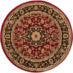 Medallion Kashan Red Traditional Round Rug