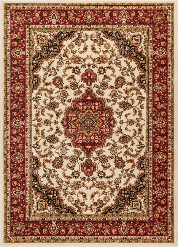 Medallion Kashan Ivory Traditional Rug