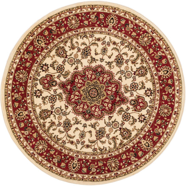 Medallion Kashan Ivory Traditional Round Rug