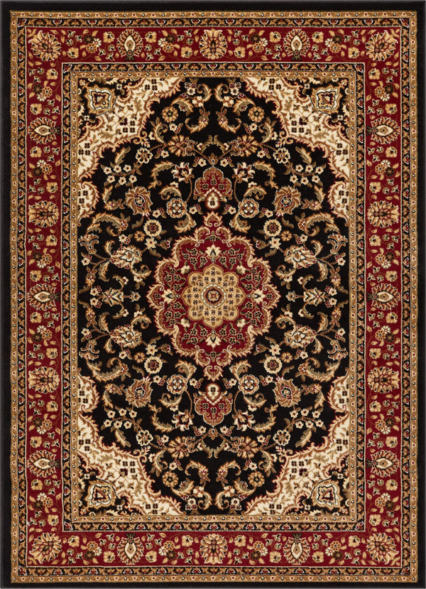 Medallion Kashan Black Traditional Rug