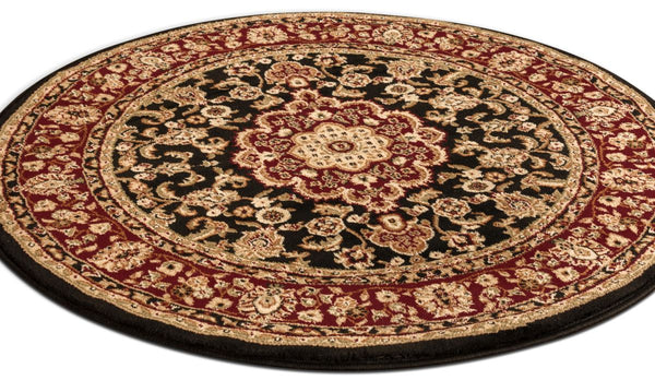Medallion Kashan Black Traditional Round Rug