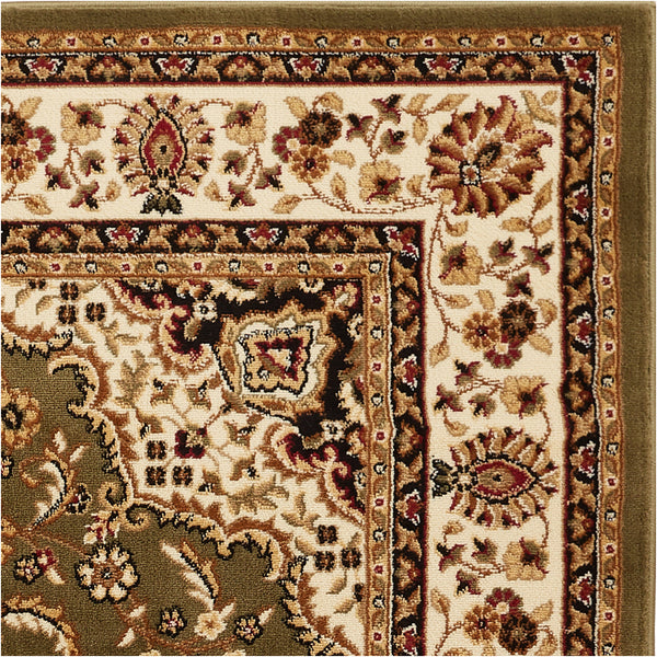 "Medallion Kashan Traditional Green 31"" Square Area Rug"