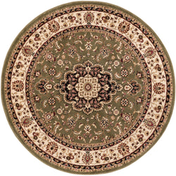 Medallion Kashan Green Traditional Round Rug