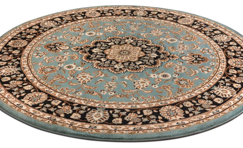 Medallion Kashan Light Blue Traditional Round Rug