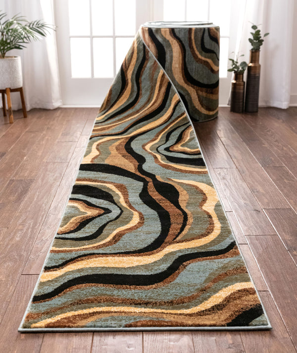 Nirvana Waves Custom Size Runner Modern Multi Blue 27 Inch Wide x Choose Your Length Hallway Runner Rug