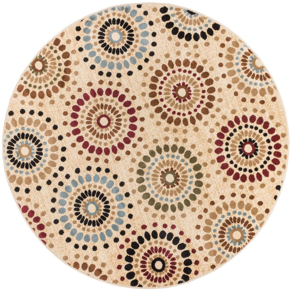 Orchid Fields Ivory Contemporary Round Rug
