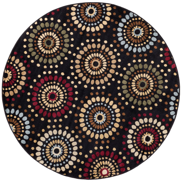 Orchid Fields Black Contemporary Round Rug