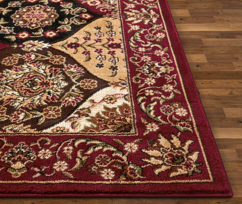 Wentworth Panel Red Traditional Rug