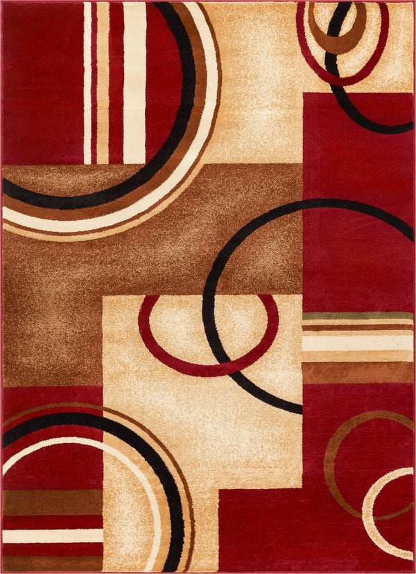 Arcs & Shapes Red Modern Rug