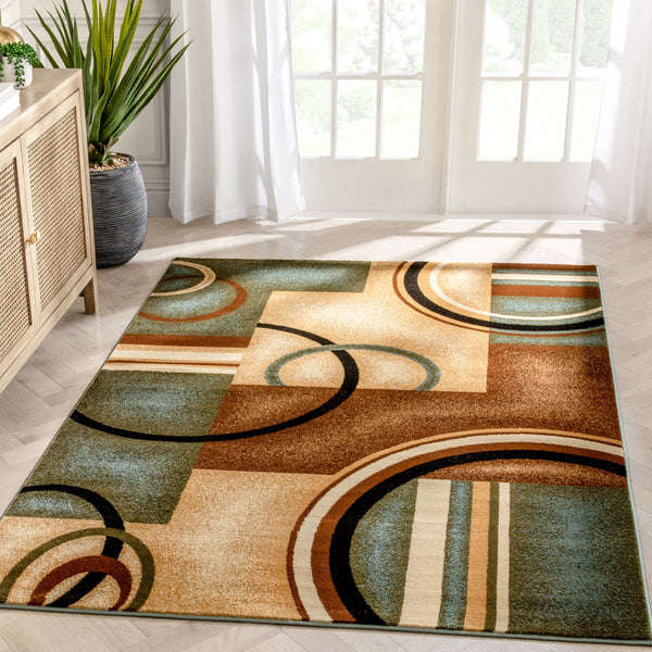 Arcs & Shapes Light Blue Modern Rug